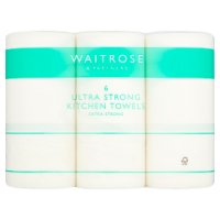 Waitrose Ultra kitchen towels, white - pack of 6