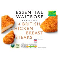 essential Waitrose 4 Frozen British chicken breast steaks