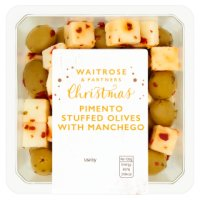 Waitrose pimento stuffed olives with manchego cheese in a chili dressing