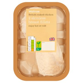Waitrose 2 British cooked chicken breast fillets.