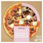 Waitrose hand stretched, thin & crispy chesnut mushroom, bacon & mascarpone pizza - 440g