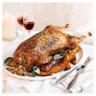 Traditionally Reared Free Range Whole Goose with a pear and Gooseberry stuffing and apple sauce glaze -