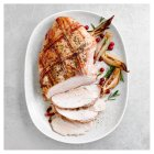 Butter basted turkey breast with smoked bacon lattice -
