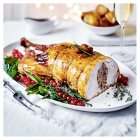 Easy Carve turkey with spicy duck and ginger stuffing -